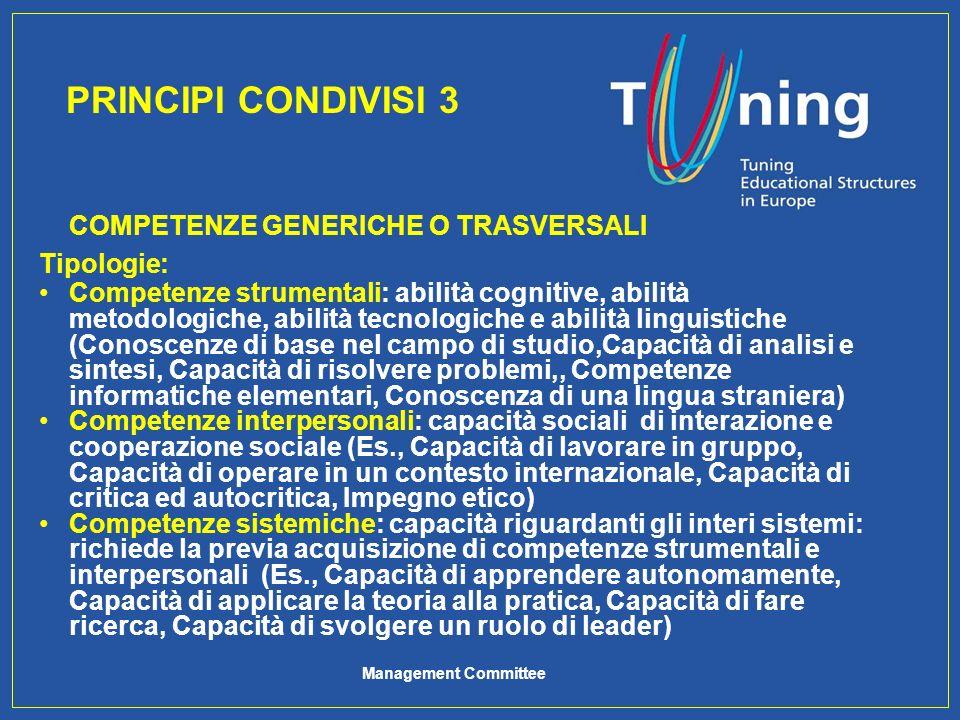PRINCIPI CONDIVISI 3 COMPETENZE GENERICHE O TRASVERSALI Tipologie: