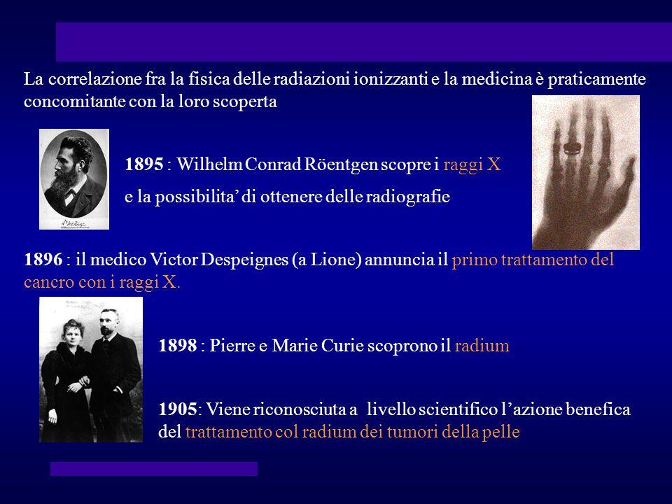 La correlazione fra la fisica delle radiazioni ionizzanti e la medicina è praticamente concomitante con la loro scoperta