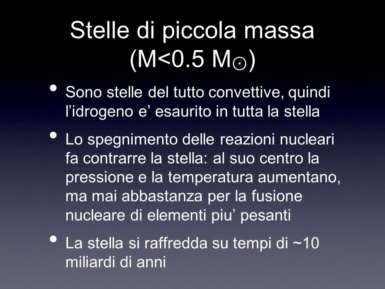 Stelle di piccola massa (M<0.5 M⊙)