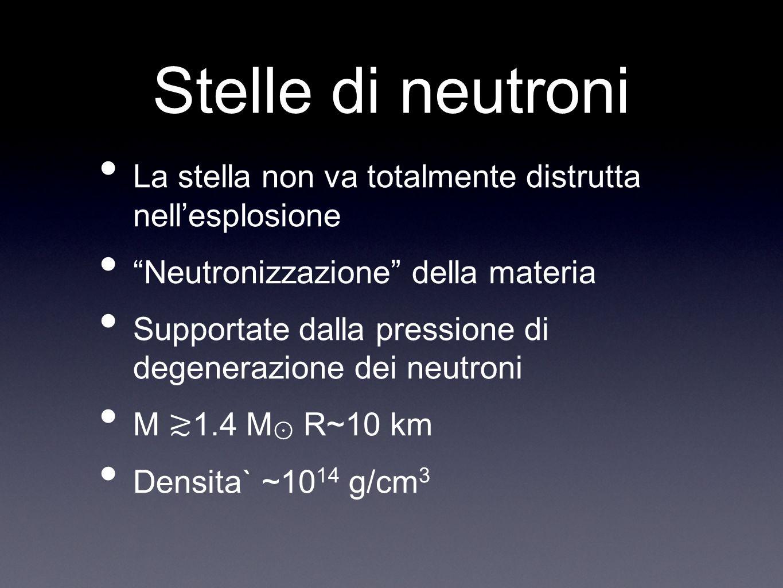 Stelle di neutroni La stella non va totalmente distrutta nell'esplosione. Neutronizzazione della materia.