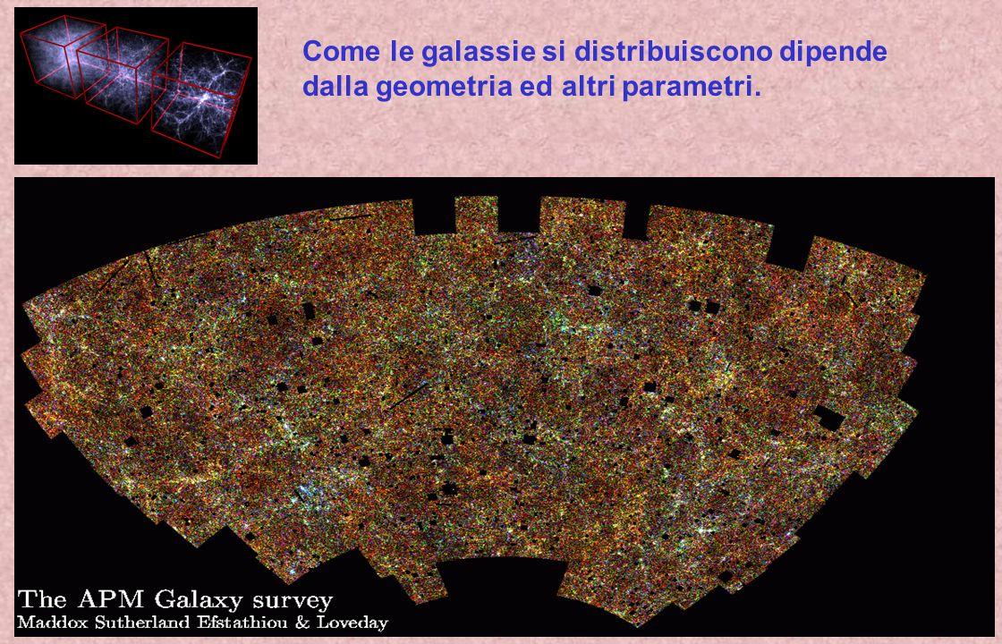 Come le galassie si distribuiscono dipende dalla geometria ed altri parametri.