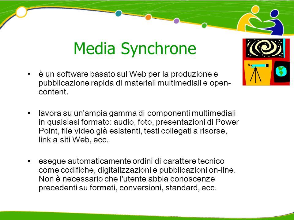 Media Synchrone è un software basato sul Web per la produzione e pubblicazione rapida di materiali multimediali e open-content.