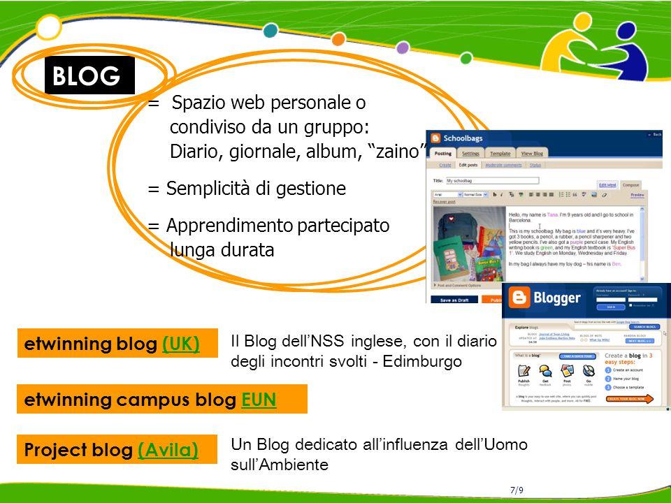 BLOG = Spazio web personale o condiviso da un gruppo: