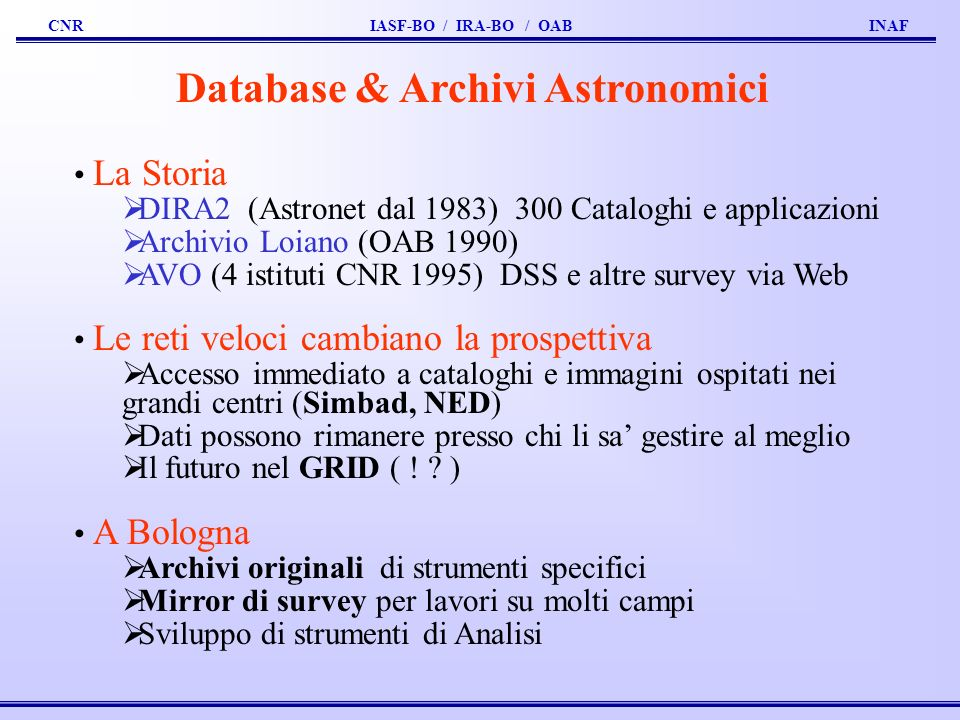 Database & Archivi Astronomici