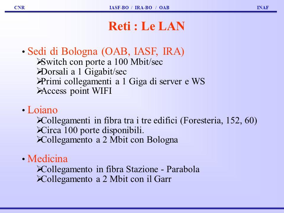 Reti : Le LAN Sedi di Bologna (OAB, IASF, IRA)