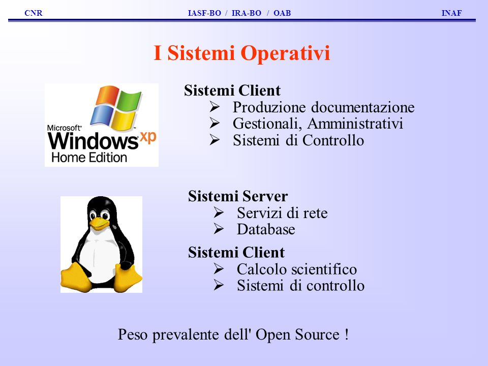 Peso prevalente dell Open Source !