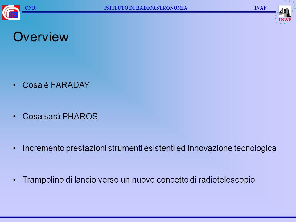 Overview Cosa è FARADAY Cosa sarà PHAROS