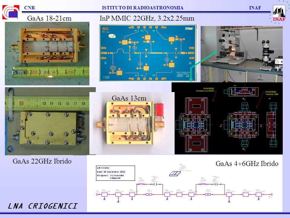 LNA CRIOGENICI GaAs 18-21cm InP MMIC 22GHz, 3.2x2.25mm GaAs 13cm