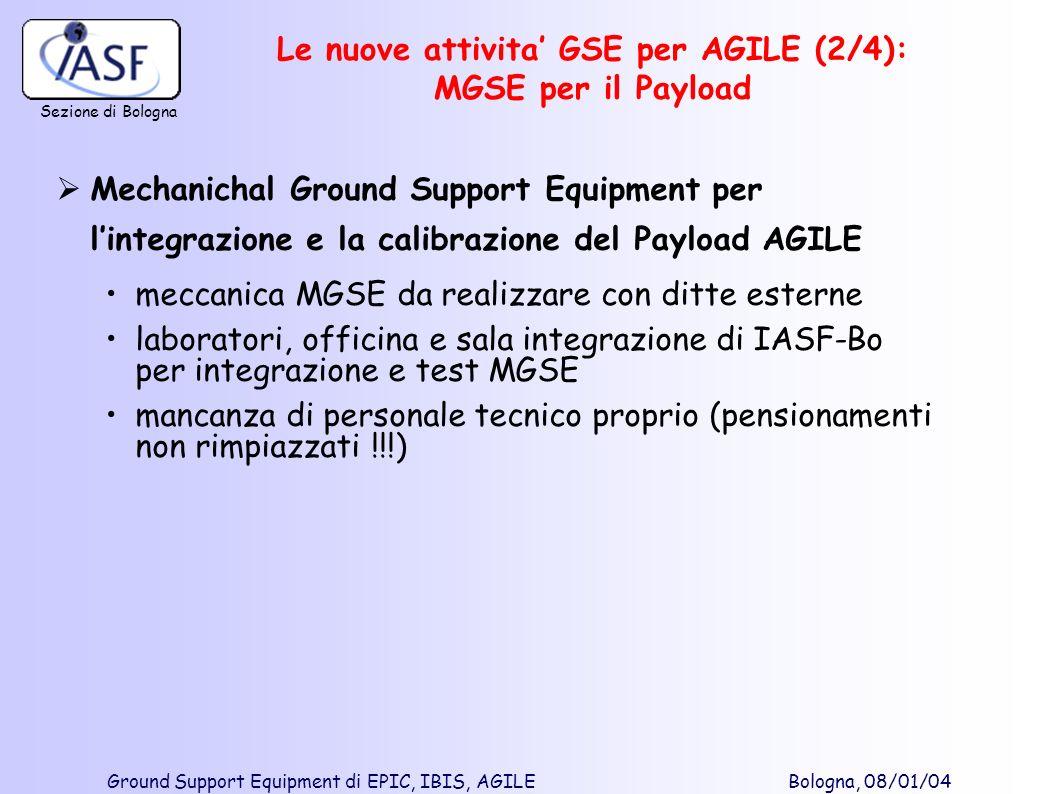 Le nuove attivita' GSE per AGILE (2/4): MGSE per il Payload