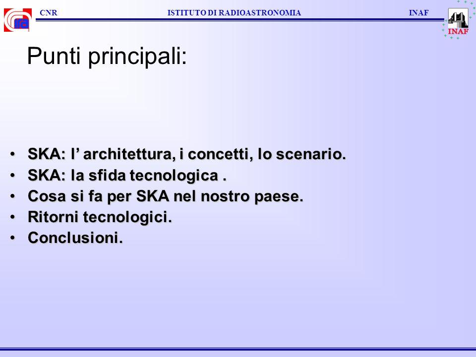 Punti principali: SKA: l' architettura, i concetti, lo scenario.