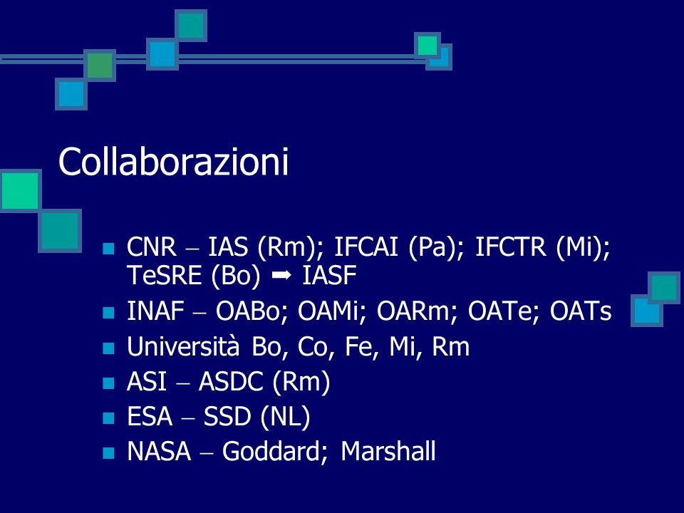 CollaborazioniCNR  IAS (Rm); IFCAI (Pa); IFCTR (Mi); TeSRE (Bo)  IASF. INAF  OABo; OAMi; OARm; OATe; OATs.