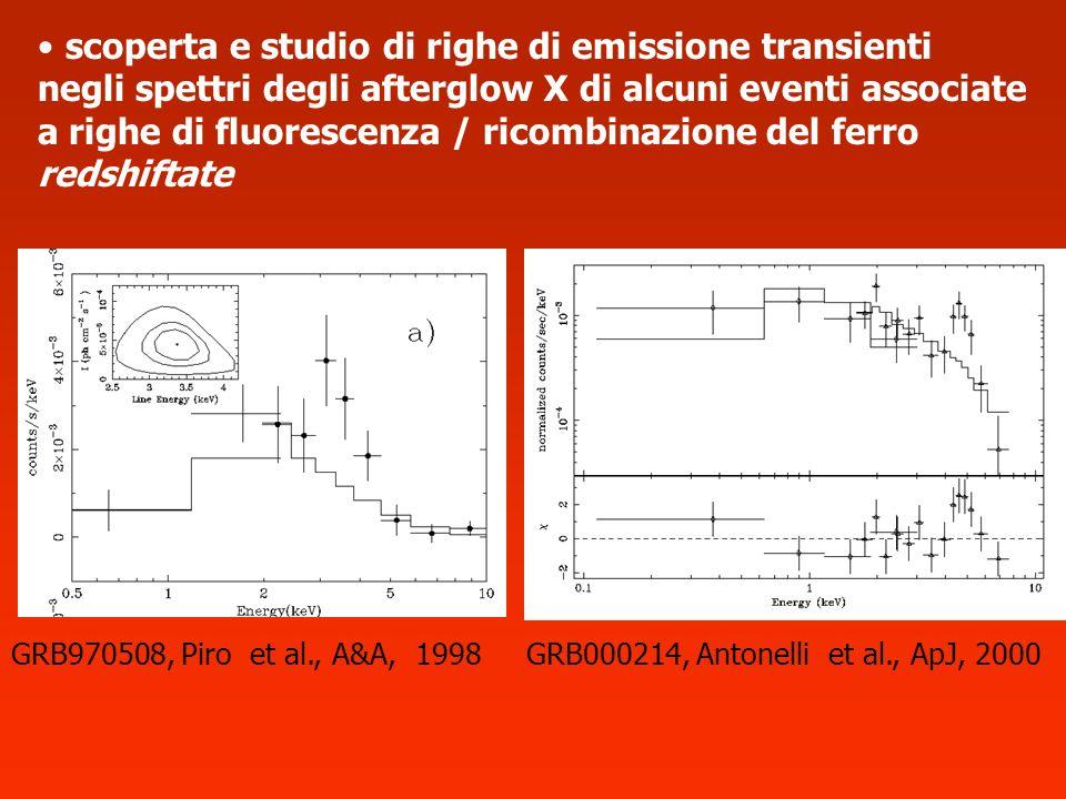 scoperta e studio di righe di emissione transienti negli spettri degli afterglow X di alcuni eventi associate a righe di fluorescenza / ricombinazione del ferro redshiftate