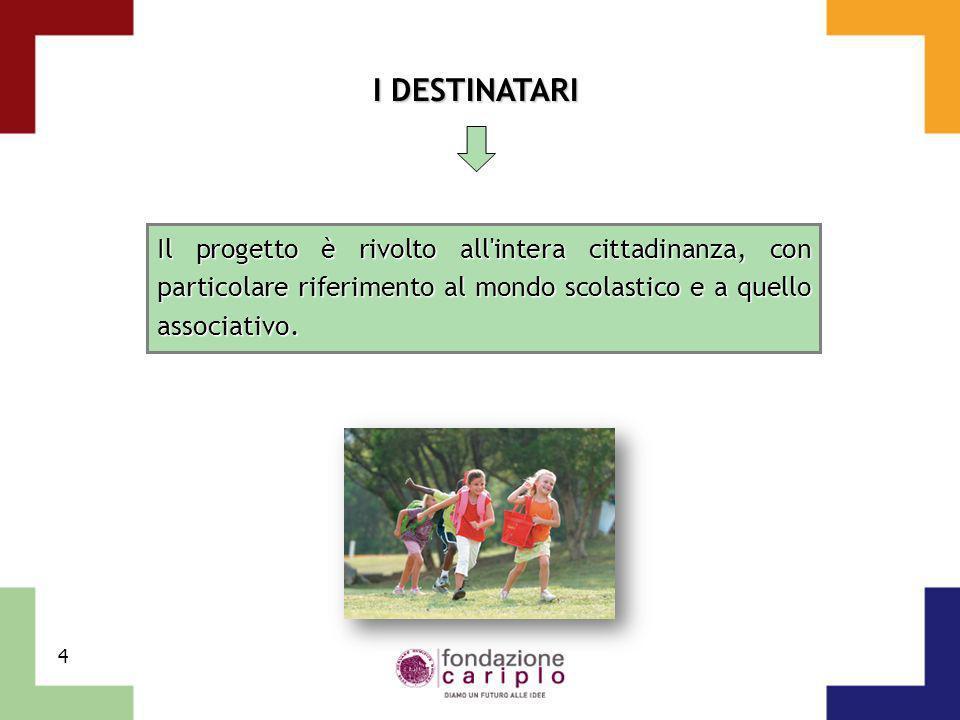 I DESTINATARI Il progetto è rivolto all intera cittadinanza, con particolare riferimento al mondo scolastico e a quello associativo.