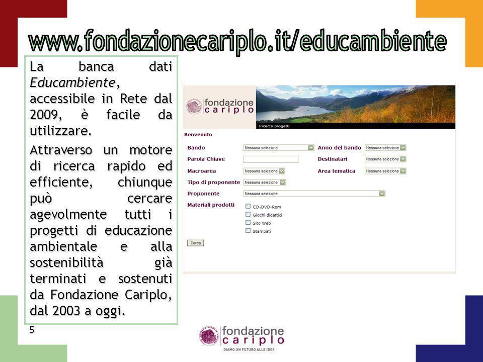 www.fondazionecariplo.it/educambiente La banca dati Educambiente, accessibile in Rete dal 2009, è facile da utilizzare.