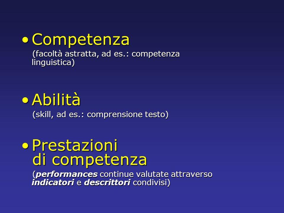Competenza Abilità Prestazioni di competenza