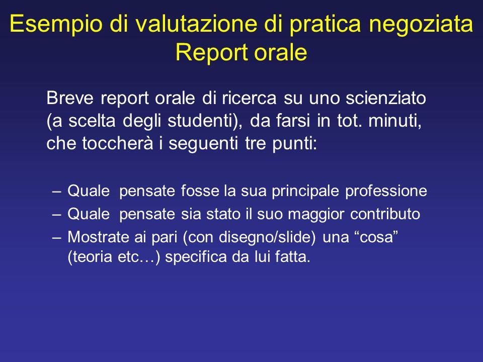 Esempio di valutazione di pratica negoziata Report orale