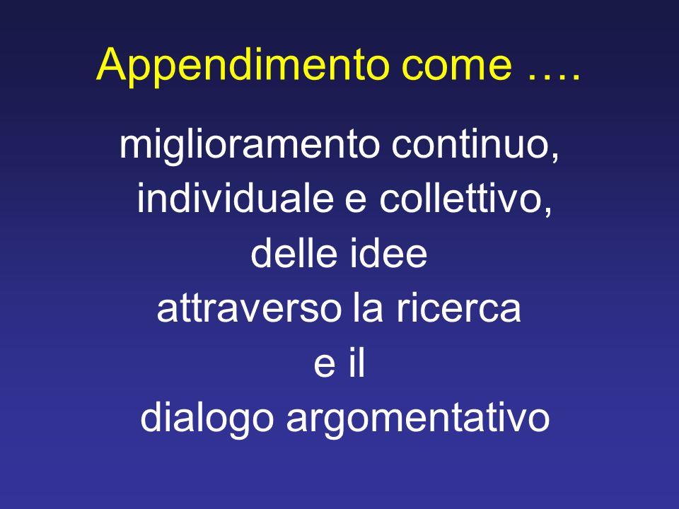 Appendimento come …. miglioramento continuo, individuale e collettivo,
