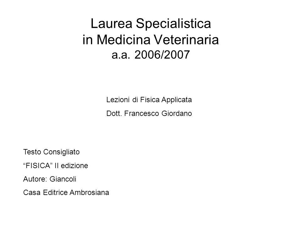 Laurea Specialistica in Medicina Veterinaria a.a. 2006/2007