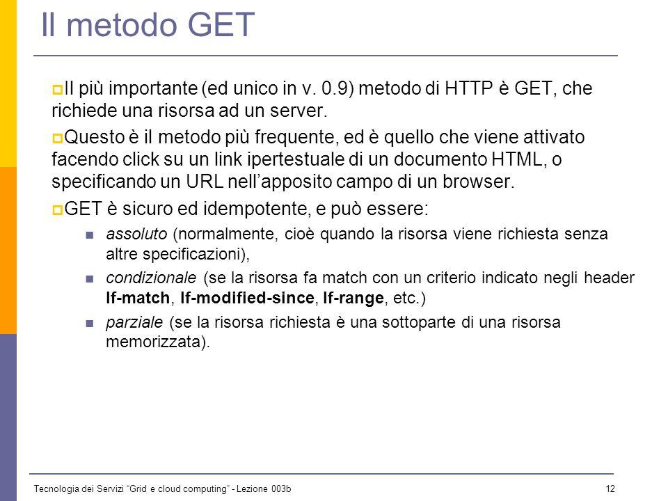 Il metodo GET Il più importante (ed unico in v. 0.9) metodo di HTTP è GET, che richiede una risorsa ad un server.