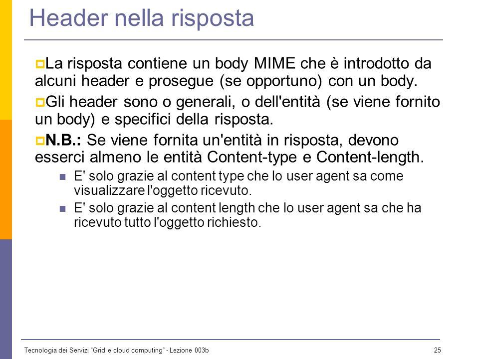 Header nella risposta La risposta contiene un body MIME che è introdotto da alcuni header e prosegue (se opportuno) con un body.