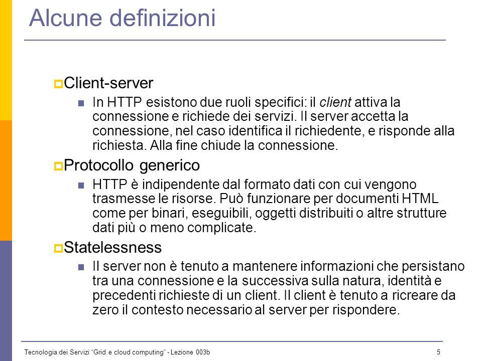 Alcune definizioni Client-server Protocollo generico Statelessness