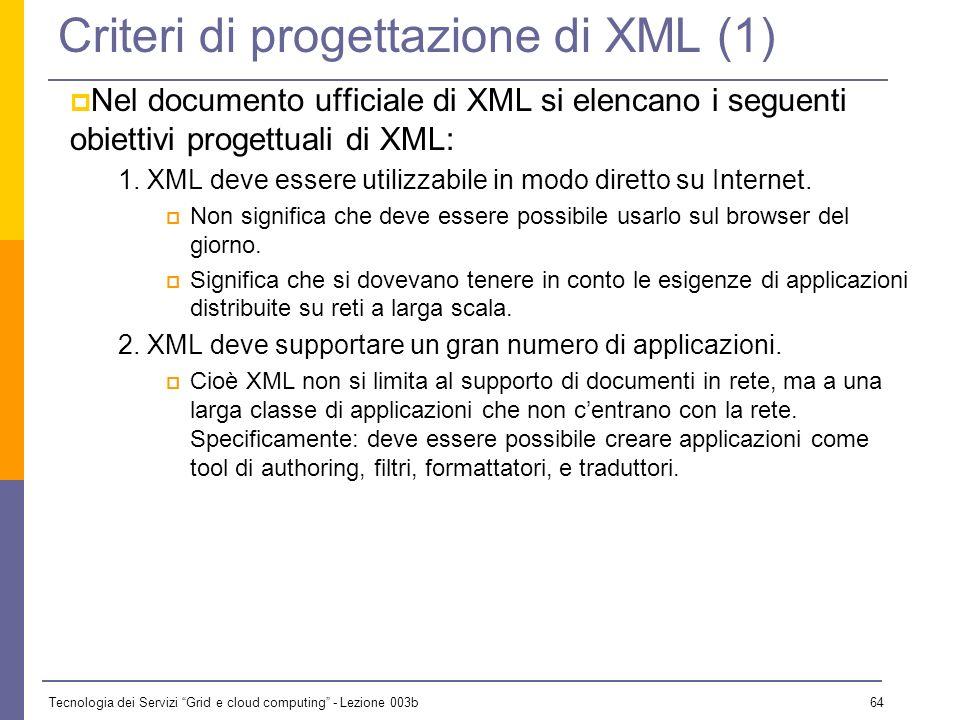 Criteri di progettazione di XML (1)