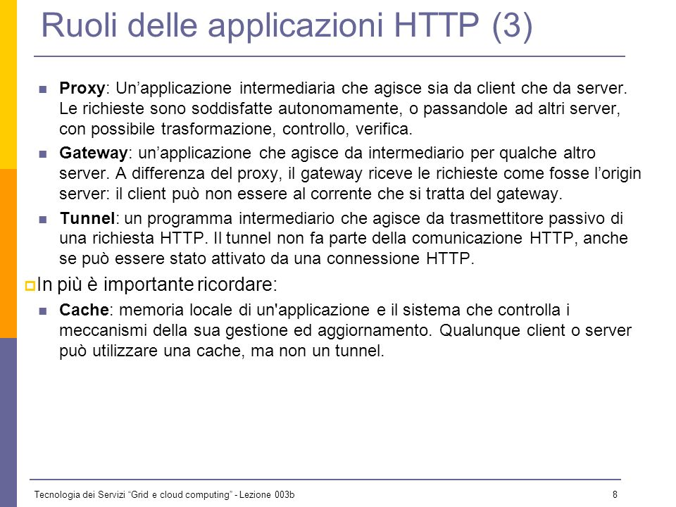 Ruoli delle applicazioni HTTP (3)