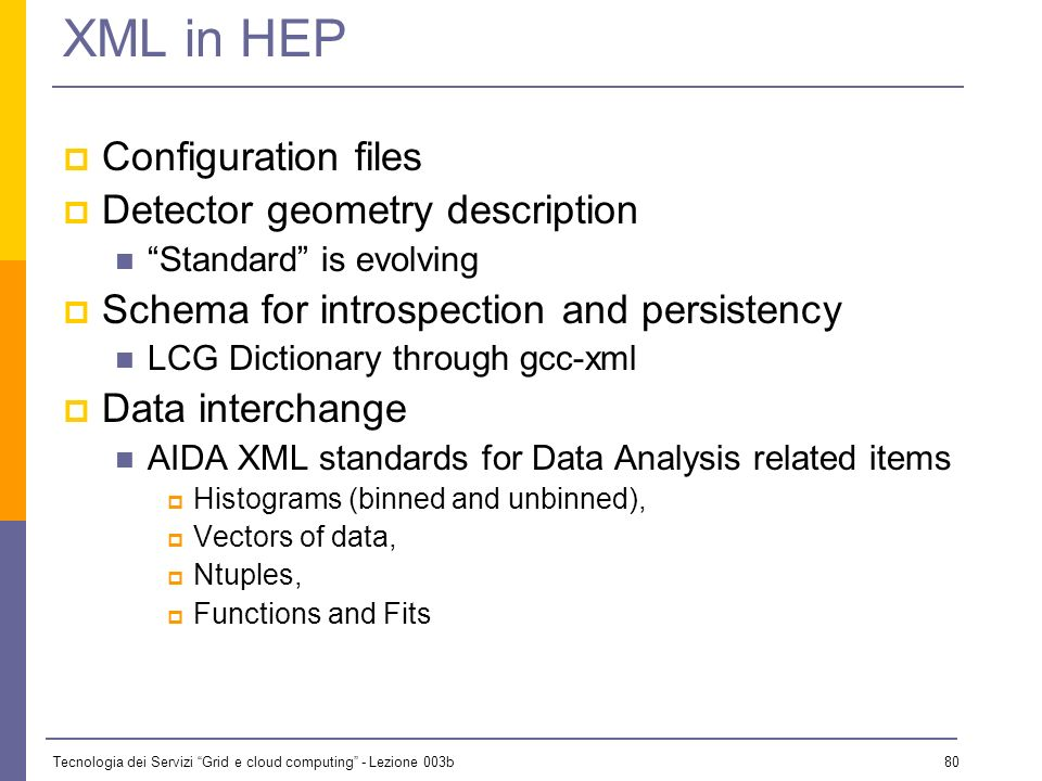 XML in HEP Configuration files Detector geometry description