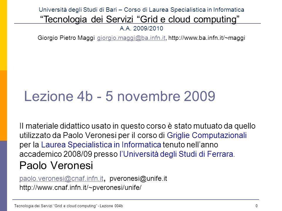 Tecnologia dei Servizi Grid e cloud computing