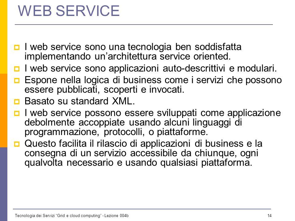 WEB SERVICE I web service sono una tecnologia ben soddisfatta implementando un'architettura service oriented.