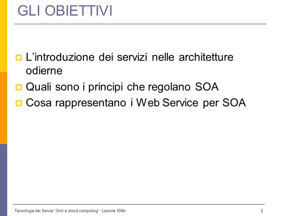 GLI OBIETTIVI L'introduzione dei servizi nelle architetture odierne