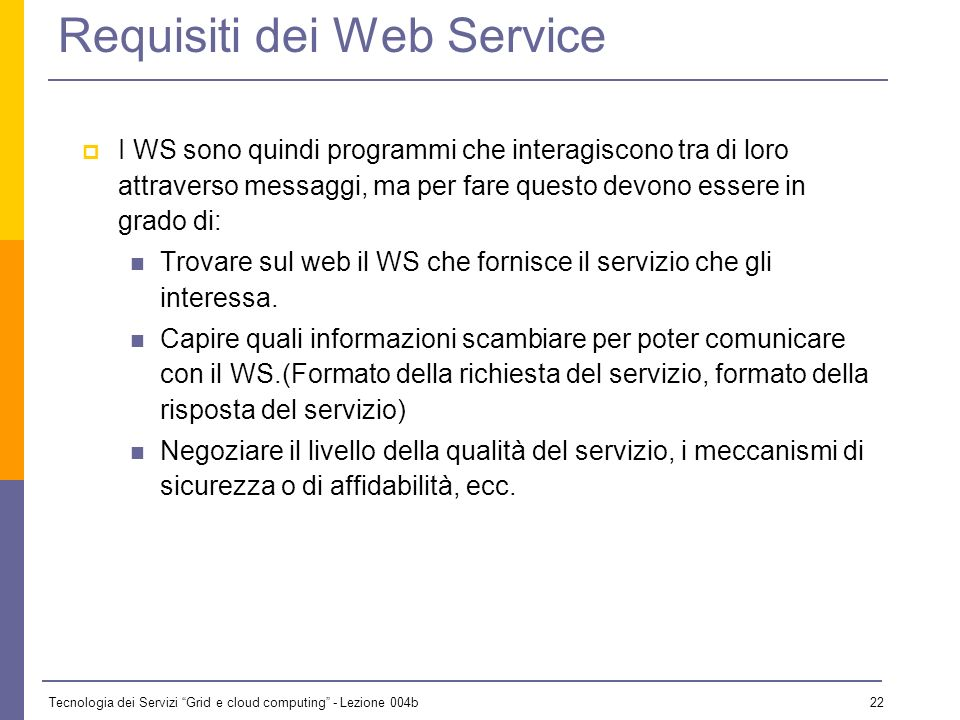 Requisiti dei Web Service