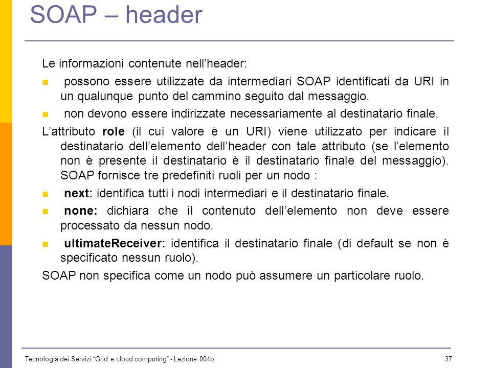 SOAP – header Le informazioni contenute nell'header: