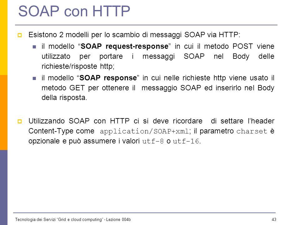 SOAP con HTTP Esistono 2 modelli per lo scambio di messaggi SOAP via HTTP: