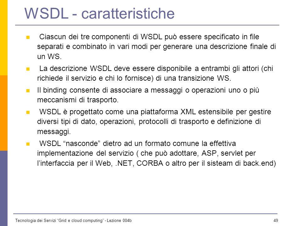 WSDL - caratteristiche