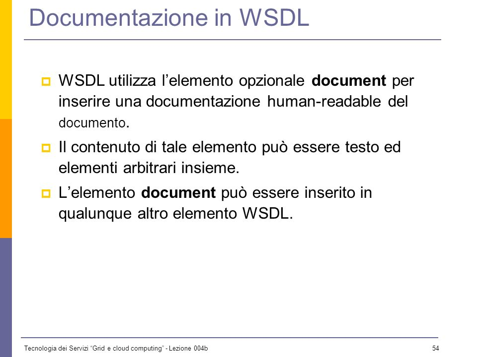 Documentazione in WSDL
