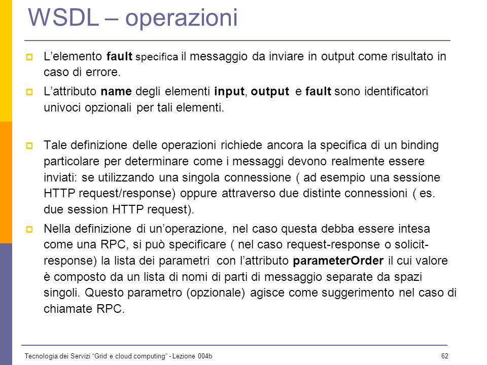 WSDL – operazioni L'elemento fault specifica il messaggio da inviare in output come risultato in caso di errore.