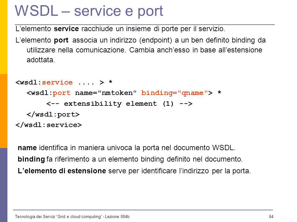 WSDL – service e port L'elemento service racchiude un insieme di porte per il servizio.