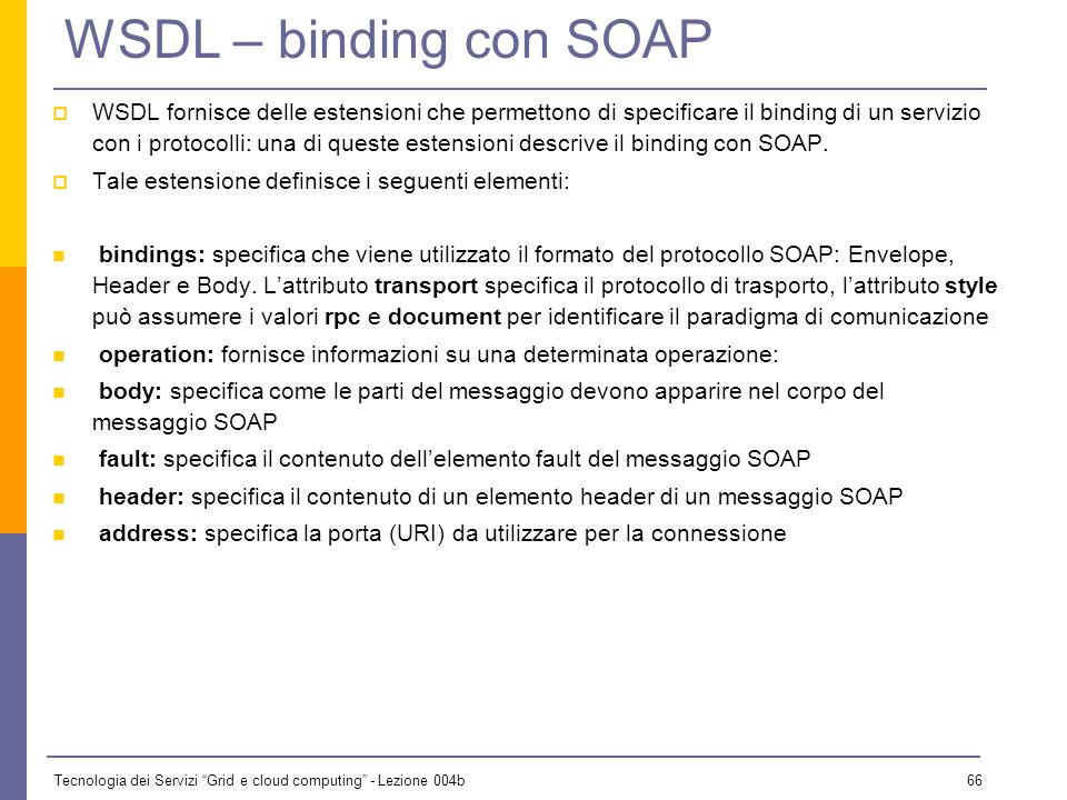 WSDL – binding con SOAP