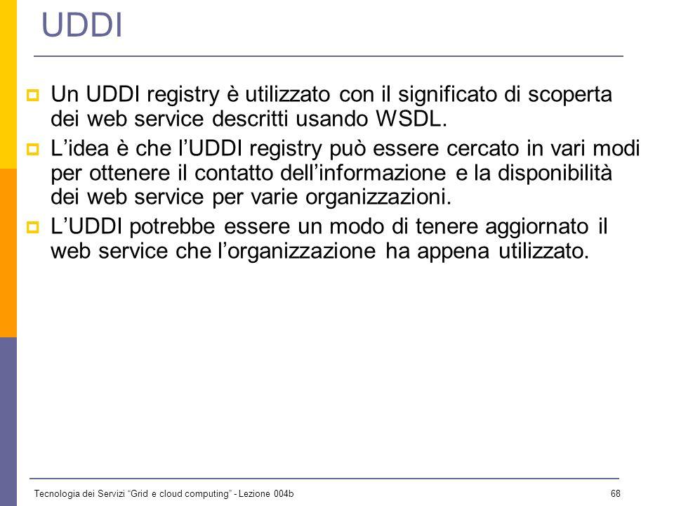 UDDI Un UDDI registry è utilizzato con il significato di scoperta dei web service descritti usando WSDL.