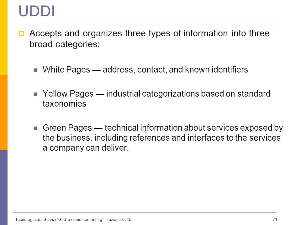 UDDI Accepts and organizes three types of information into three broad categories: White Pages — address, contact, and known identifiers.