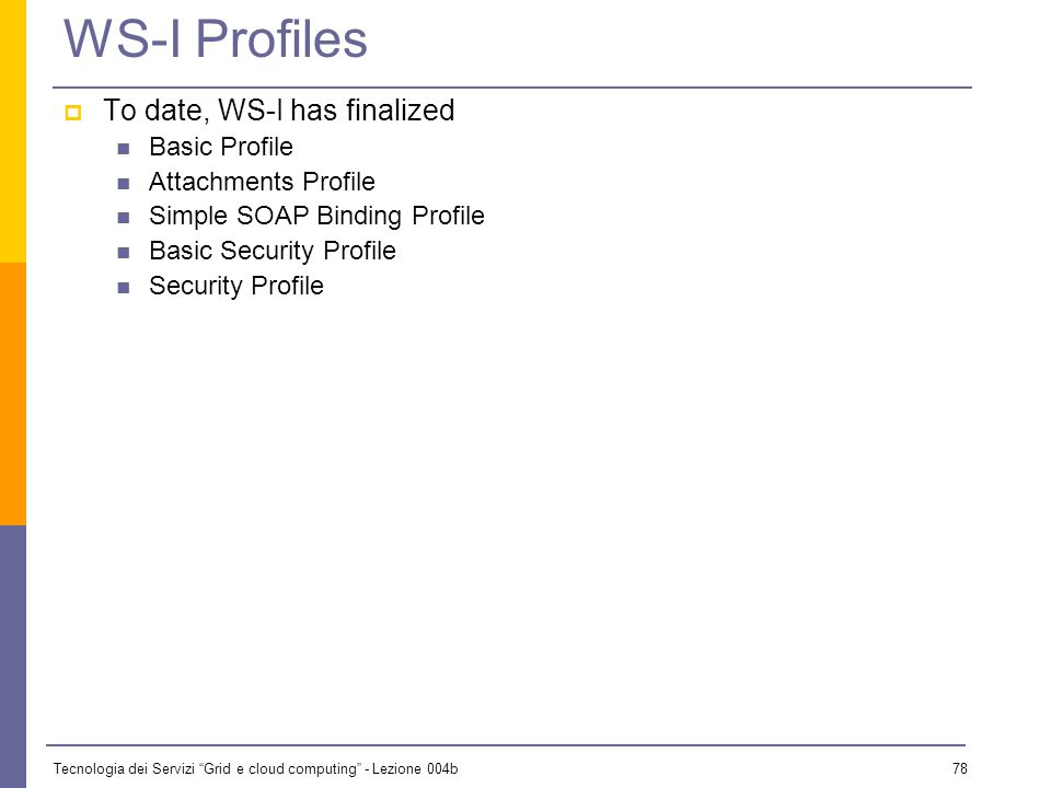 WS-I Profiles To date, WS-I has finalized Basic Profile