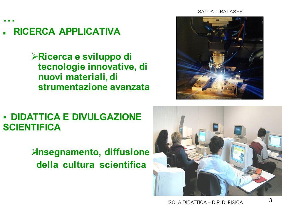 SALDATURA LASER … RICERCA APPLICATIVA. Ricerca e sviluppo di tecnologie innovative, di nuovi materiali, di strumentazione avanzata.