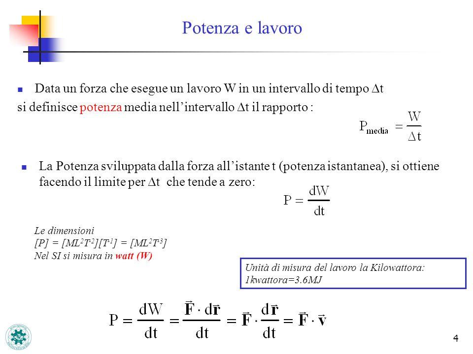 Potenza e lavoro Data un forza che esegue un lavoro W in un intervallo di tempo Dt. si definisce potenza media nell'intervallo Dt il rapporto :