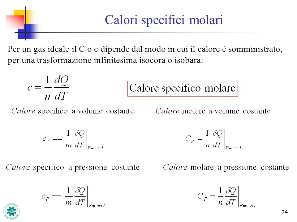 Calori specifici molari