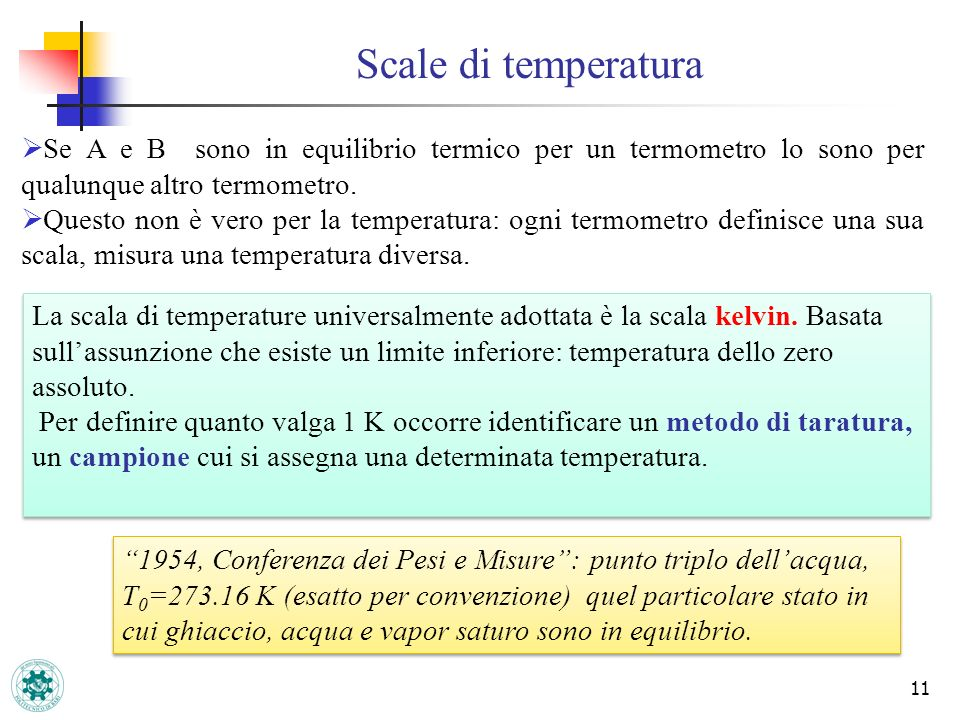 Scale di temperatura Se A e B sono in equilibrio termico per un termometro lo sono per qualunque altro termometro.