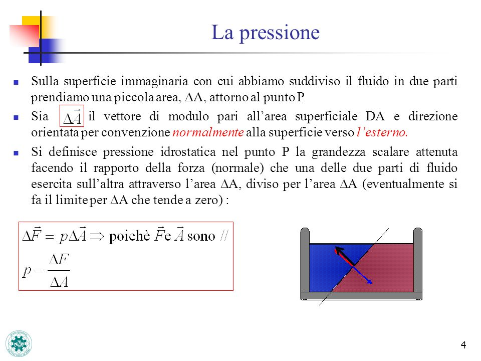 La pressione Sulla superficie immaginaria con cui abbiamo suddiviso il fluido in due parti prendiamo una piccola area, DA, attorno al punto P.