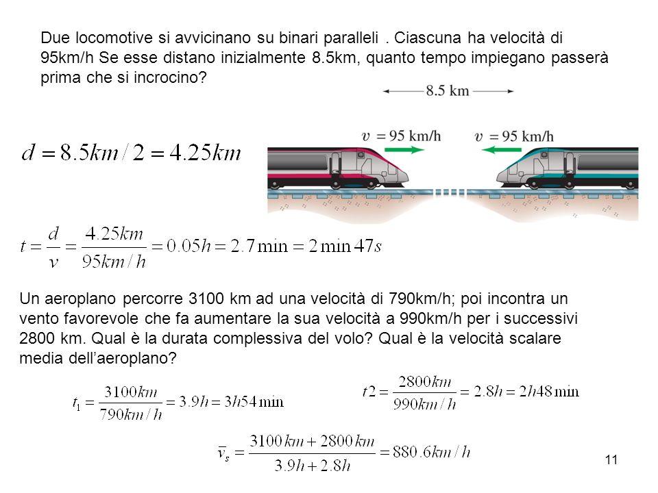 Due locomotive si avvicinano su binari paralleli