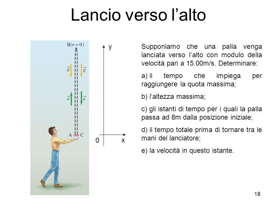 Lancio verso l'alto y. Supponiamo che una palla venga lanciata verso l'alto con modulo della velocità pari a 15.00m/s. Determinare: