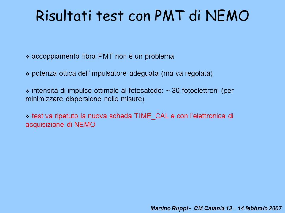 Risultati test con PMT di NEMO